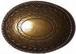 Oval Plate 'Old Brass' Belt Buckle. Code XP1